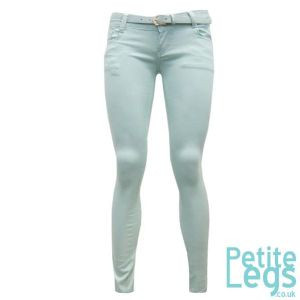 Chelsea Skinny Jeans in Pastel Mint Green | UK Size 8 | Petite Leg Inseam Select: 24 - 31 inches | With Free Belt